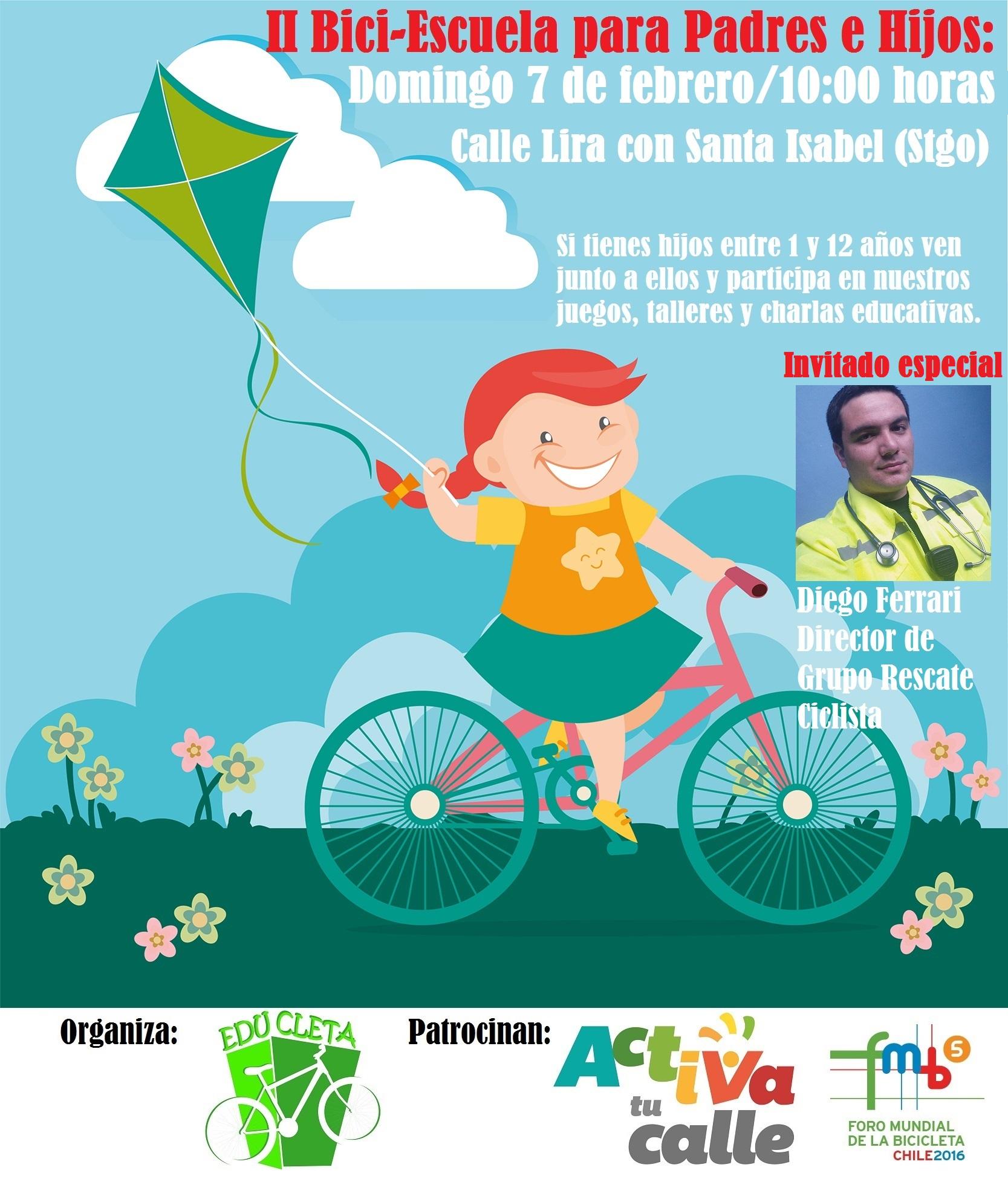Afiche II Bici Escuela Padres e Hijos